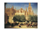Seville, Cathedral with Giralda Tower by Achille Zo Giclee Print