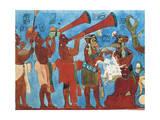 Mexico, Chiapas, Bonampak, Reproduction of Bonampak Frescos, Detail with Musicians Giclee Print