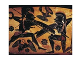 Greek Civilization, Black-Figure Pottery, Attic Vase Depicting Clash Between Two Warriors Giclee Print