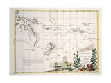 Map of South Seas, New Zealand, New Guinea, New South Wales, Society Islands Giclee Print