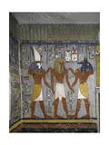Egypt, Tomb of Ramses I, Mural Painting of Pharaoh Between Harsiesis and Anubis in Burial Chamber Giclée-tryk
