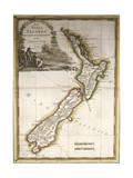 Map of New Zealand Giclée-tryk