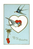 To My Valentine Postcard with Swallows Giclee Print by David Pollack