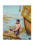 Book Illustration of Robinson Crusoe Tying Together a Raft Giclee Print
