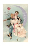 To My Valentine Postcard with Couple on Cresent Moon Giclee Print by David Pollack