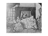 Illustration of Benjamin Franklin on His Death Bed Giclee Print