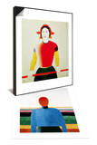 Girl with a Pole (Oil) & Bust of Woman Set Prints by Kasimir Malevich