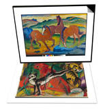 Red Horses (Grazing Horses Iv.), 1911 & Three Cats, 1913 Set Posters by Franz Marc