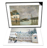 Flood of Port-Marly, c.1876 & Winter in Louveciennes Set Posters by Alfred Sisley