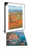 Red Poppy Field & Villagio Del Porto Set Poster by Sung Kim