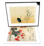 Blackbird, Edo Period & Poppies Set Art by  Japanese School