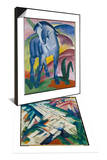 Blaues Pferd I., 1911 & Mountains (Formerly Landscape), 1911/12 Set Posters by Franz Marc