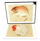 Bairei Gadan - Red Snapper & Bairei Gadan - Rooster Set Posters by Bairei Kono