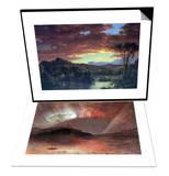 A Rural Home & Aurora Borealis Set Prints by Frederic Edwin Church