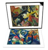 Horse Jumping, 1912 & The Mandrill, 1913 Set Print by Franz Marc