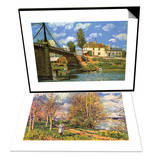 The Bridge at Villeneuve-La-Garenne & Les Petits Pres Au Printemps Set Prints by Alfred Sisley