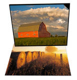 Barn and Cumulonimbus Cloud Mass & Misty Morning, Farmland and Wheat Straw Rolls, Canada Set Poster by Dave Reede