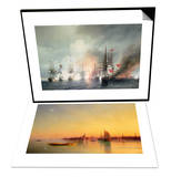 Russian-Turkish Sea Battle of Sinop on 18th November 1853 & Venice from the Lagoon at Sunset Set Prints by Ivan Konstantinovich Aivazovsky