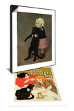 A Small Girl with Cat, 1889 & Reproduction of French Company of Chocolate and Tea Ad Set Prints by Théophile Alexandre Steinlen