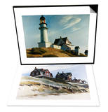 Lighthouse at Two Lights & Cottages at Wellfleet Set Posters by Edward Hopper