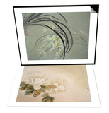 Cymbidium Orchids & Green Peonies Set Posters by Minrong Wu