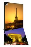 Eiffel Tower, Paris, France & Arc de Triomphe, Night View, Paris, France Set Posters by Steve Vidler