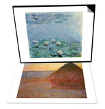 Water Lilies, Nympheas & Haystacks, Pink and Blue Impressions, 1891 Set Art by Claude Monet
