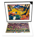 Yellow Cow, 1911 & Frieze of Donkeys, 1911 Set Prints by Franz Marc