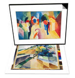 With a Yellow Jacket, 1913 & Vineyard at Lake Murten, 1914 Set Posters by Auguste Macke