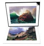 Seal Rock, California & Storm in the Rockies, Mt. Rosalie Set Poster by Albert Bierstadt