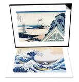 Asakusa Honganji Temple in the Eastern Capital, Edo & The Great Wave of Kanagawa Set Prints by Katsushika Hokusai