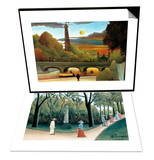 Eiffel Tower at Sunset & Luxembourg Gardens - Monument to Chopin Set Art by Henri Rousseau