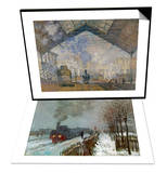Gare Saint-Lazare, c.1877 & Train in the Snow Set Prints by Claude Monet