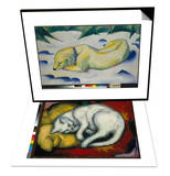 Dog Lying in the Snow, 1910/1911 & The White Cat, 1912 Set Poster by Franz Marc
