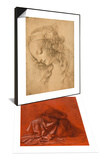 Study for Face of Virgin Mary of Annunciation & Study for Folds of Garment of Female Figure Set Posters by  Leonardo da Vinci