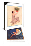 Mistletoe, UK, 1920 & Blue Moon Silk Stockings, Womens Glamour Pin-Ups Nylons Hosiery, 1920 Set Art