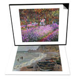 The Artist's Garden at Giverny, 1900 & Etretat, The Beach, c.1883 Set Posters by Claude Monet