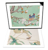 Twin Birds in the Branches & Bird on Lotus Leave Set Prints by Hsi-Tsun Chang