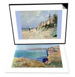 Beach at Trouville & Cliffs at Varengeville Set Print by Claude Monet