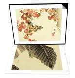 Flowers and Birds Picture Album by Bairei No.10 & Katydid on Banana Leaf Set Print by Bairei Kono