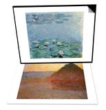 Water Lilies, Nympheas & Haystacks, Pink and Blue Impressions, 1891 Set Posters by Claude Monet