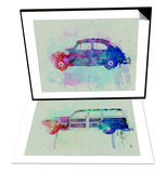 VW Beetle Watercolor 1 & Ford Woody Set Poster by  NaxArt