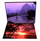 Aerial Scenic of Fishermen and Limestone Mountains,  China & Palms and Sunset, Tumon Bay, Guam Set Prints by Bill Bachmann