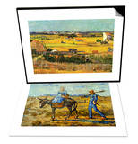 Harvest At La Crau with Montmajour & Morning with Farmer and Pitchfork Set Prints by Vincent van Gogh
