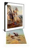 Sun Worship in Montana & Cowboy Roping A Steer Set Prints by Charles Marion Russell
