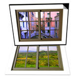 View from the Window over the Canal at Venice & View from the Window at Castiglione D'Orcia Set Prints by Anna Siena