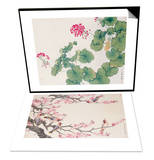 Geranium & Singing Birds in Spring Set Poster by Hsi-Tsun Chang