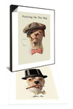 Dog in Hat and Bow Tie Smoking a Cigar & Dog in Top Hat Smoking a Cigar Set Poster