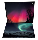 Curtains of Northern Lights above Fairbanks, Alaska & Northern Lights Curtain, Alaska Set Print by Hugh Rose