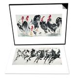 Chickens Bring Luck & Running Horses Set Poster by Guozen Wei